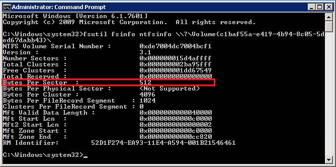 Screenshot of fsutil in command prompt