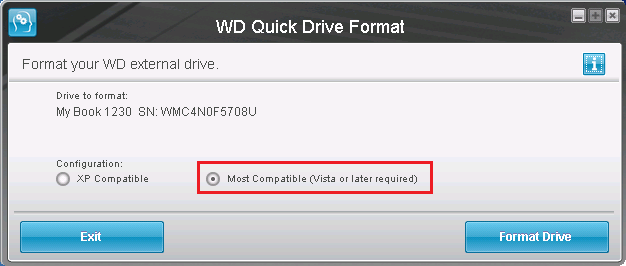 Screenshot of Western Digital Quick Drive Format tool