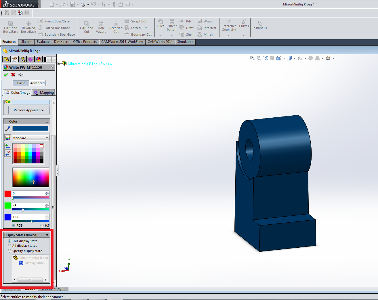 Screenshot of SolidWorks appearance display state configuration