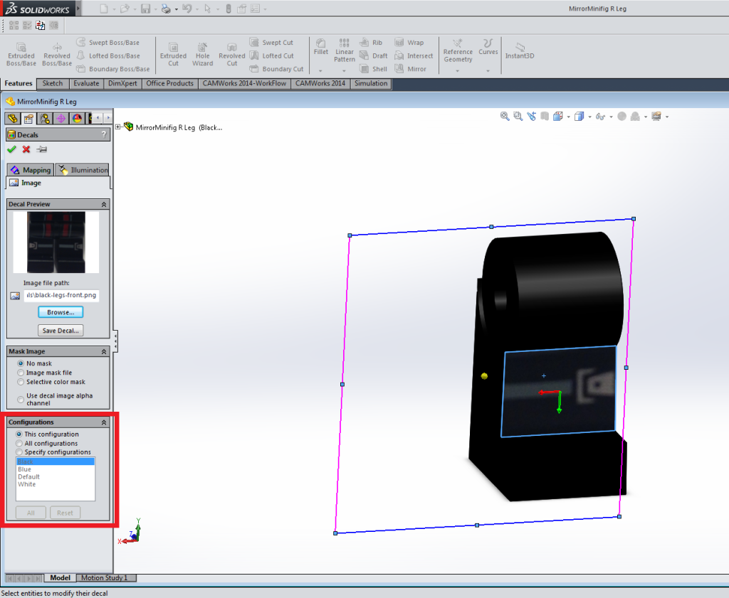 Screenshot of SolidWorks decal configuration