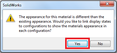 Screenshot of SolidWorks display state linking dialog