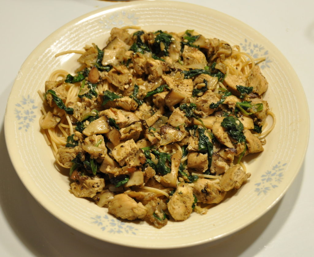 Spinach, Mushrooms & Chicken Spaghetti